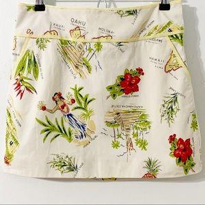 J. CREW Tropical Hawaiian Mini Skirt Yellow Trim